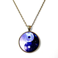 Galaxy Cosmo Yin Yang Necklace - Vintage Inspired Pop Culture Jewelry - Soft Grunge Pastel Goth Jewelry