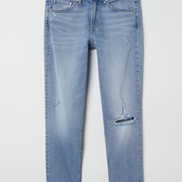 Girlfriend Regular Jeans - Light denim blue/Trashed - Ladies | H&M GB