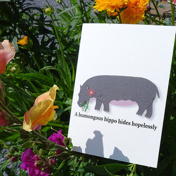 Hippo card, gorgeous hand-illustrated hippopotamus greeting card complete with quirky tongue-twisting phrase, blank notecard