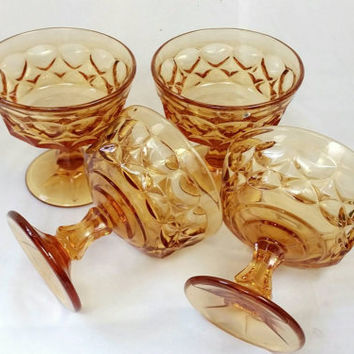 Vintage Noritake Perspective Pattern Amber Glass Sherbet Bowls/Champagne Topaz Ice Cream Dishes/Dessert Bowls (Lot of 4)