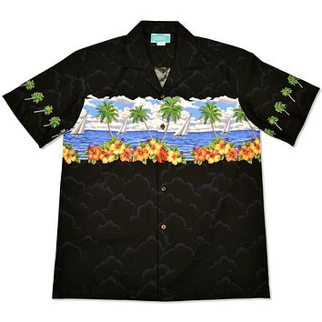 sailing black hawaiian border shirt