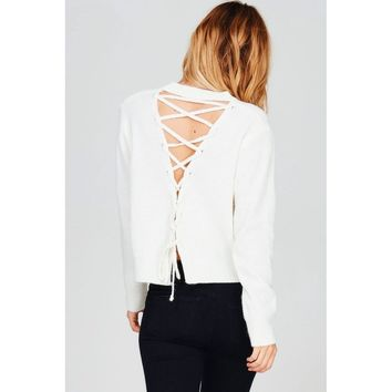 Knit Sweater with Lace Up Back (Ivory)