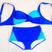 Mix Color Top High Waist Bottom Bikini Set