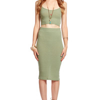 Olive Ribbed Body Con Skirt