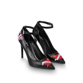 shosouvenir LV  BLACK HEART High-heeled shoes