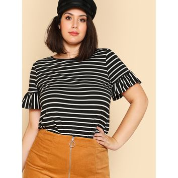 Plus Size Black And White Ruffle Sleeve Striped T-Shirt