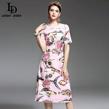 High Quality New 2017 Spring Summer Designer Runway Dress Women elegant Mid Calf Length Floral Embroidery Printed Pink Dress
