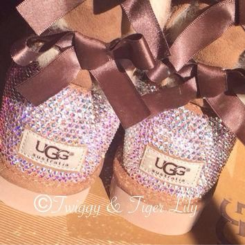 Swarovski Crystal Embellished Chestnut Bailey Bow Uggs - Chestnut Uggs with Bows and C