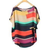 ZLYC Colorful Scoop Neck Stripes Loose Fit Chiffon Shirt For Women
