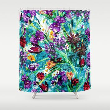 Floral Jungle Shower Curtain by RIZA PEKER