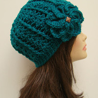 FREE SHIPPING - Crochet Flower Fitted Hat - Teal Turquoise Blue with Bronze Stud