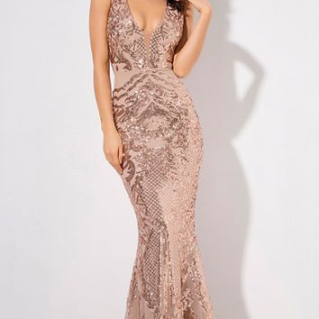 So Much To Say Gold Sheer Mesh Sequin Geometric Pattern Sleeveless Plunge V Neck Mermaid Maxi Dress