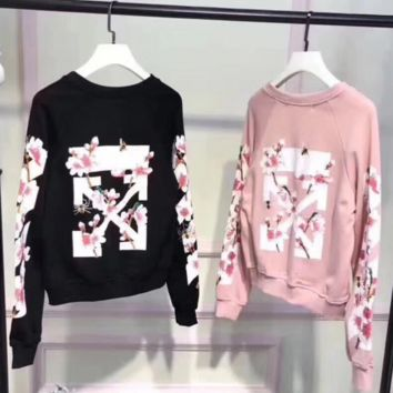 OFF WHITE Fashion Casual Long Sleeve Sweater Pullover Sweatshirt