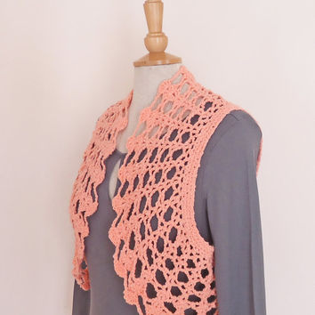 Crochet Bolero / Cotton Bolero Jacket / Crochet Lace Shrug / Crochet Jacket / Peach Cotton Lace Bolero Shrug,Pink Bolero UK Seller