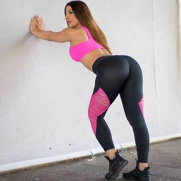 Sexy Women Push Up High Waist Leggings Sport Yoga Running Tight Hollow Out Holes Breathable Stitching Calzas Deportivas Mujer