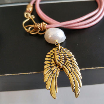 Angel wings necklace, pink leather bracelet, gold angel wing jewelry, pink wrap bracelet, triple wrap, long leather necklace, boho chic