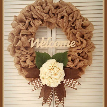 Burlap Wreath Spring Welcome Cream Front