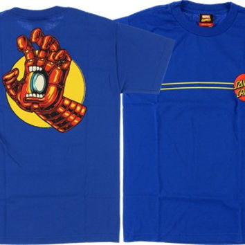 Santa Cruz Marvel Iron Man Hand Tee Large Royal