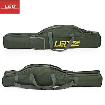 LEO Portable Fishing Bags 100cm150cm Folding Fishing Rod Carrier Canvas Fishing Pole Tools Storage Bag Case Fishing Gear Tackle