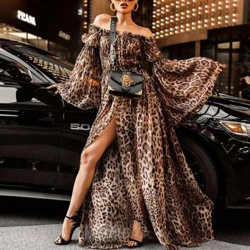 Feitong Leopard Print   Long Sexy Nightclub Split Off Shoulder Maxi Dress