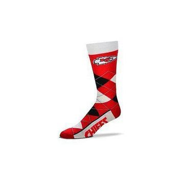 NFL Kansas City Chiefs Argyle Unisex Crew Cut Socks - One Size Fits Most