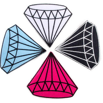 Rockabilly Diamond / Iron-on Patch / Diamond Tattoo / Embroidery / Bling Bling Appliqué