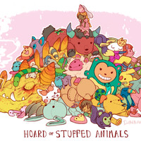 HOARD OF STUFFED ANIMALS PRINT