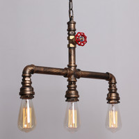 Vintage Metal Water Pipe Pendant Light  With 3 Lights