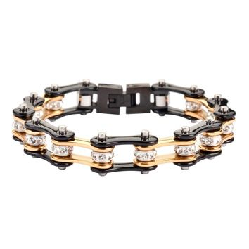 Black and Gold Stainless Steel Chain Bracelet with Rolling Crystals