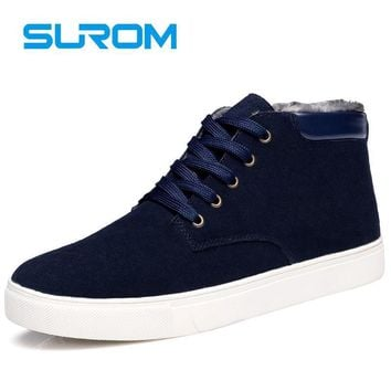 SUROM Men's Boots Winter Leather Casual Shoes 2017 New Warm Male Footwear Unisex Ankle