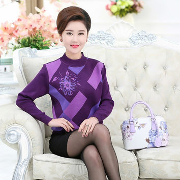 Knitted Bottoming Shirt Pullover Sweater Fall Winter New Women Jumper Middle Age Mother Printed Diamond Plaid Knitwear Top