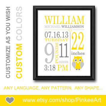 baby annoucements owl birth sign new baby decor newborn gift personalized birth stats baby name art birth date print yellow gray baby stats