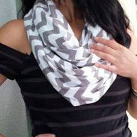 Grey Chevron Nursing Scarf and Car Seat Cover