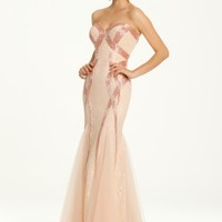 Strapless Bugle Bead Over Lace Dress