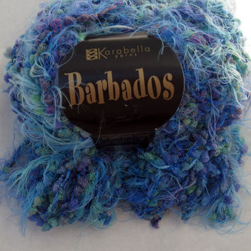 Karabella Barbados Novelty Fluffy Eyelash, Boucle Vegan Yarn, 2 Skeins Blue Purple Green blend, Muted Colors, Knit, Crochet Destash