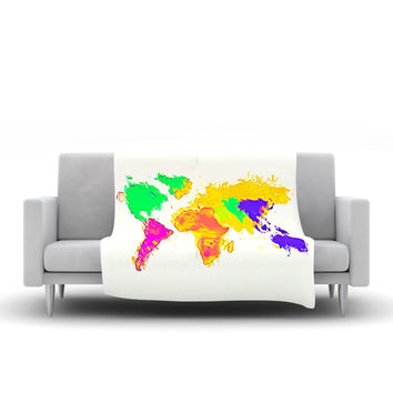 "Oriana Cordero ""My World"" Rainbow Map Fleece Throw Blanket"