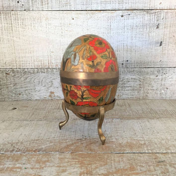 Brass Enamel Egg Cloisonne Egg with Brass Stand Large Brass Easter Egg Brass Egg Trinket Box Vintage Easter Decor Mid Century Spring Decor