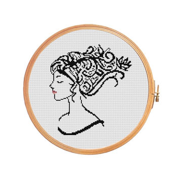 Girl with red lips and black curly hair - cross stitch pattern -  lady valentines day mother's day - modern gift