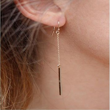 Zinc Alloy Popular Simple Design Long Section of A Chain-shaped Ear Hook Earrings Punk Style