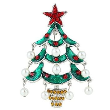 EVER FAITH Red Star Teardrop Wishing Tree Brooch Austrian Crystal Simulated Pearl