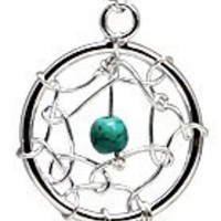 Dream catcher dangle belly ring by GlitZ JewelZ © - We use genuine turquoise stone hand set and hand