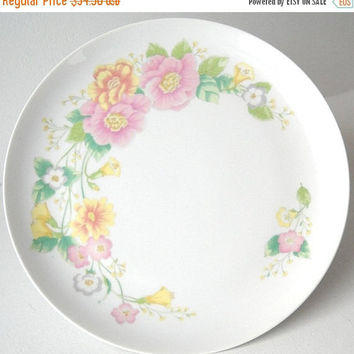 ON SALE - Shafford Cake Plate, Vintage Pedestal Salver, Wedding Table Serving, Pink and Yellow Flowers, Kitchen Dessert Tray