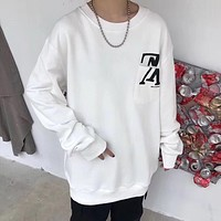 Louis Vuitton HOT SALE Round neck letters printed loose long sleeve sweater