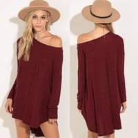 Women's Fashion Winter Simple Design With Pocket One Piece Dress [9307397060]