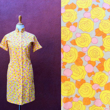 Vtg shirt dress floral yellow pink cute collar size 6 - 8 button up short sleeves poly cotton blend lightweight