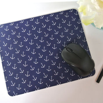 Nautical Anchor Print Navy Blue Mousepad - mouse pad, mousepads, office supplies, beach house decor