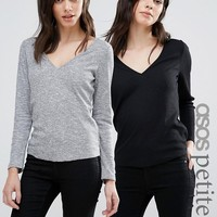 ASOS PETITE Fitted V Neck T-Shirt In Slub 2 Pack Save 10% at asos.com
