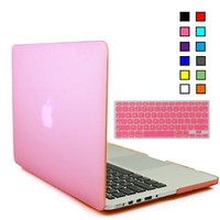 iBenzer - 2 in 1 Soft-Touch Soft Skin Plastic Hard Case Cover & Keyboard Cover for 13 inches Macbook Pro 13.3'' with Retina display (Model: A1502 / A1425 ), Pink MMP13R-PK+1