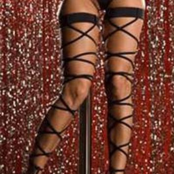 Wrap Around Leg Straps that Tie at The Bottom Comes with Matching G string Black