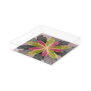 Joy, Pink Green Anthracite Fantasy Flower Fractal Serving Tray